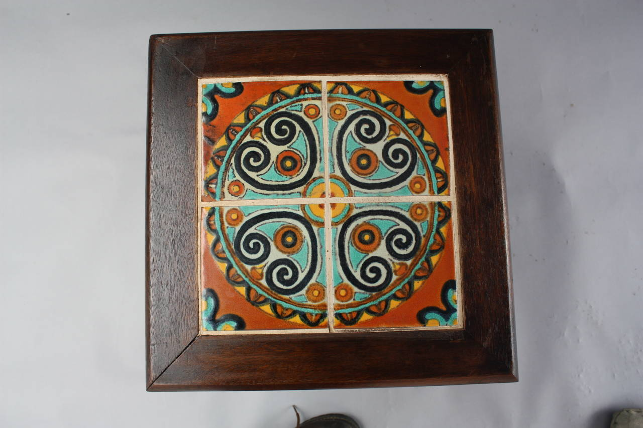 Antique California Spanish Revival Table With Tudor Tiles