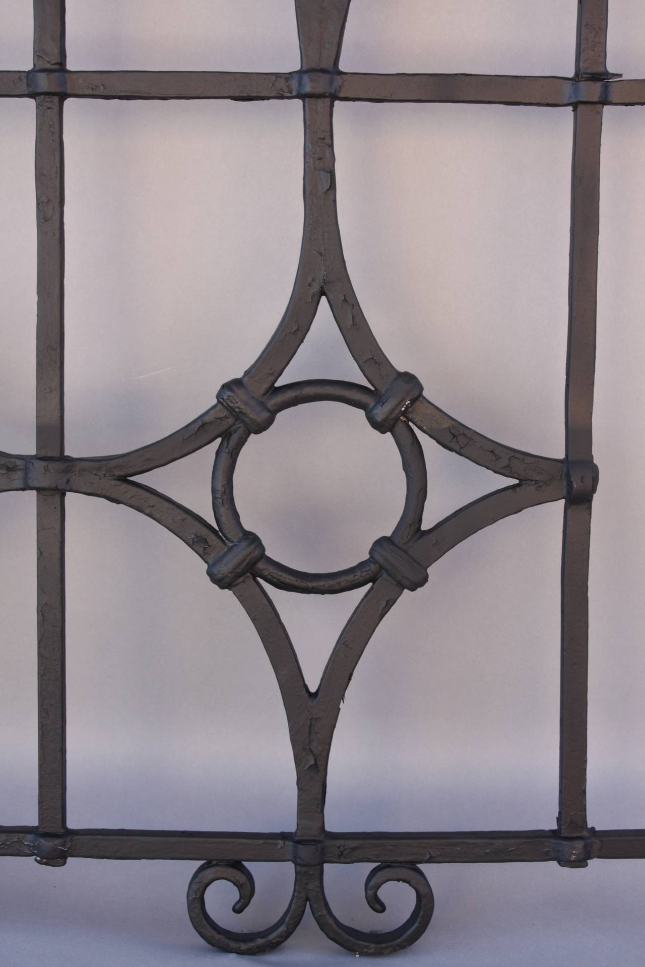North American One of Two Iron Grills Salvaged from Brentwood House