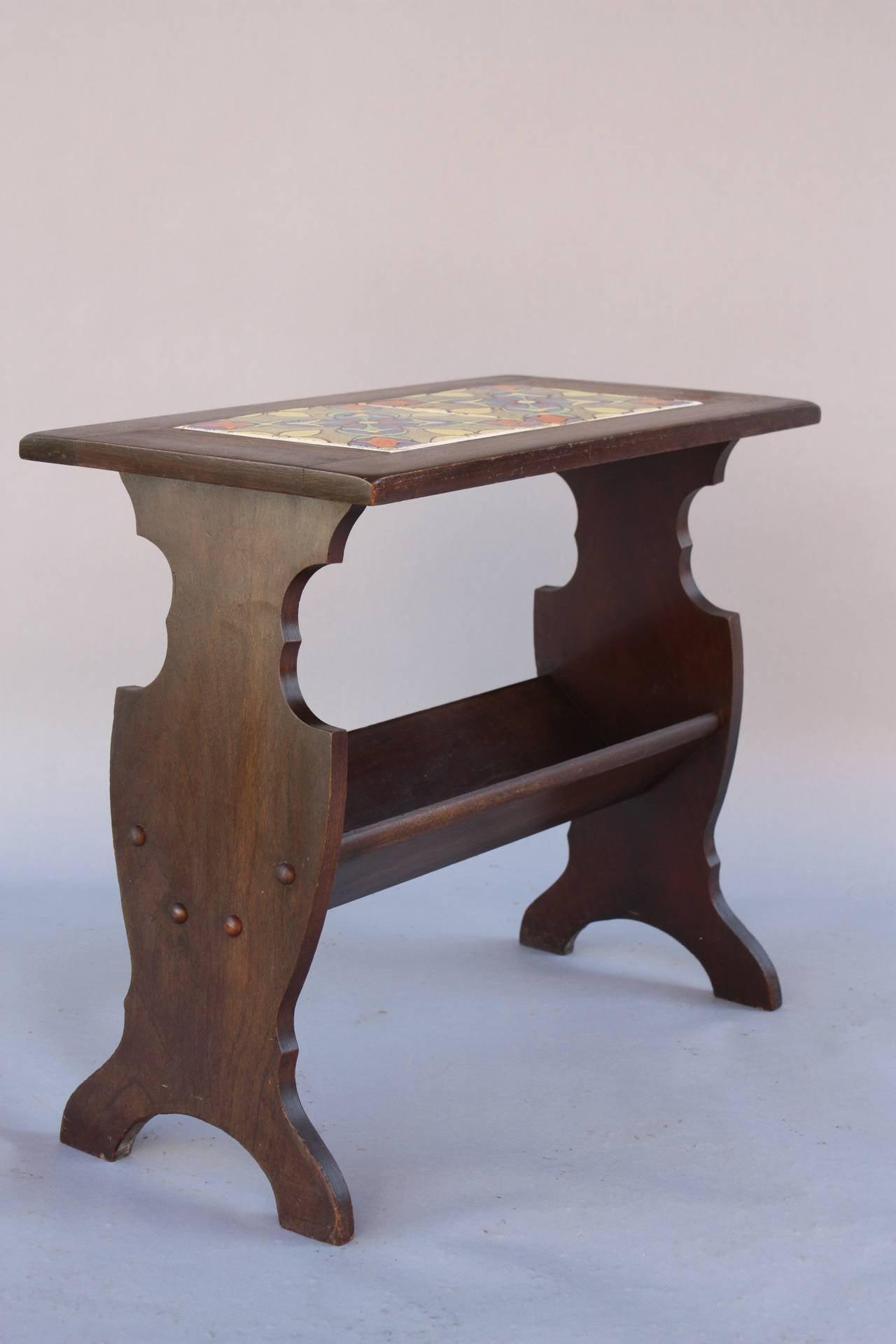 Etonnant Walnut Table With All Original Malibu Tile Table / Magazine Stand. 21