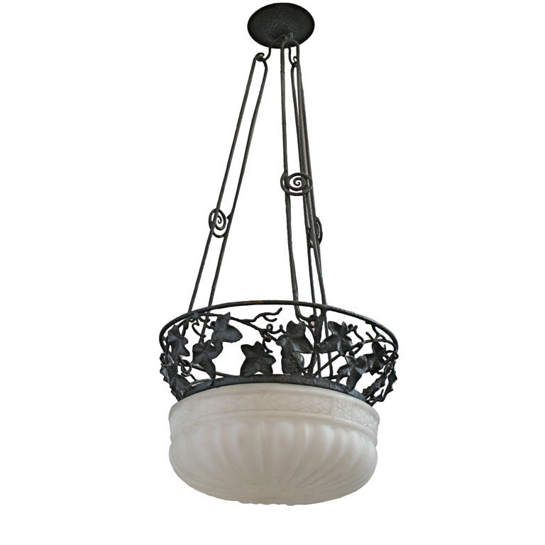 Wrought Iron Deco Chandelier