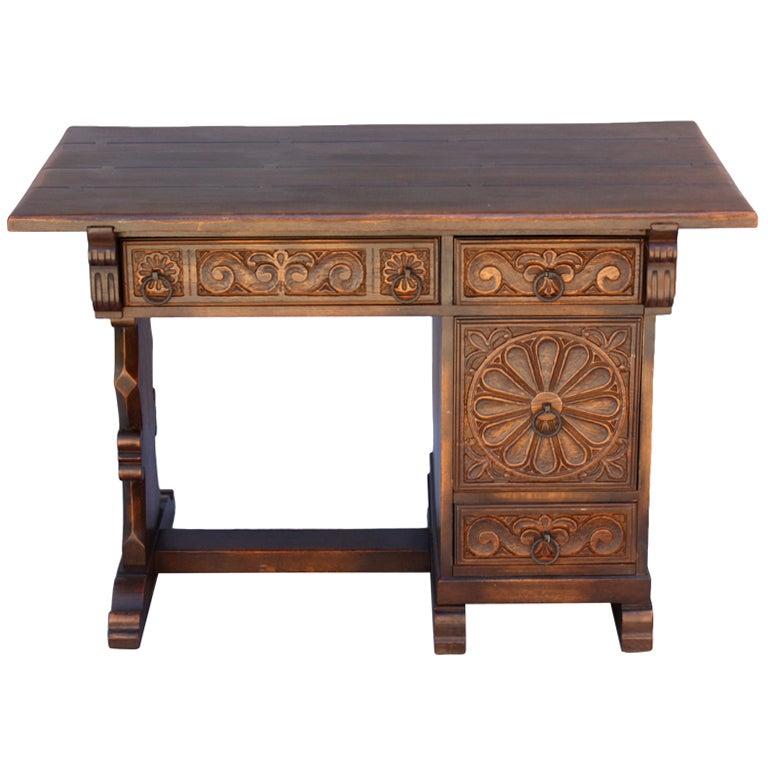 Spanish Revival Carved Desk at 1stdibs