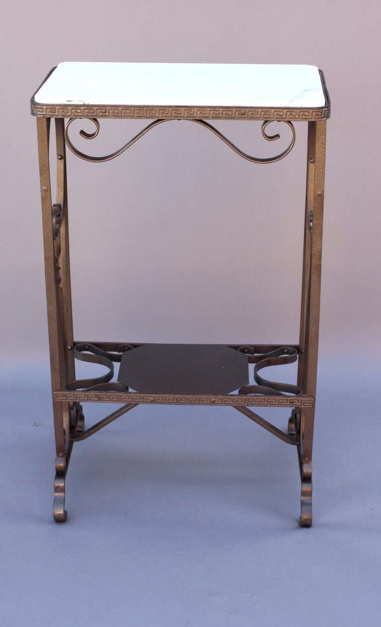 Wrought iron and marble stand or side table at 1stdibs for Wrought iron side table