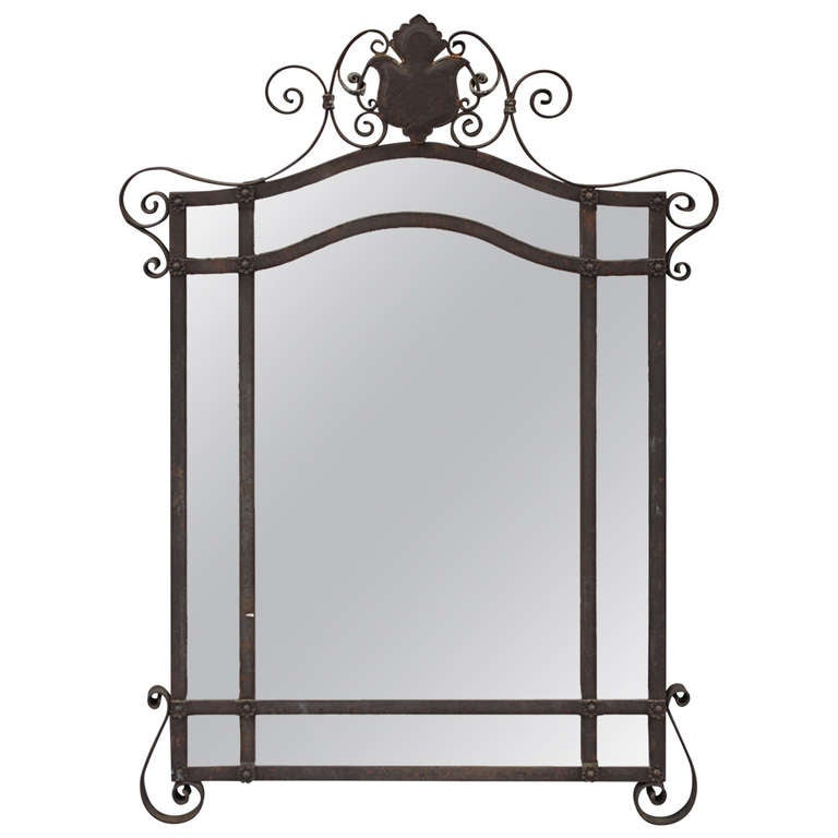 1920s wrought iron jauchen 39 s olde copper shop mirror at for Wrought iron mirror
