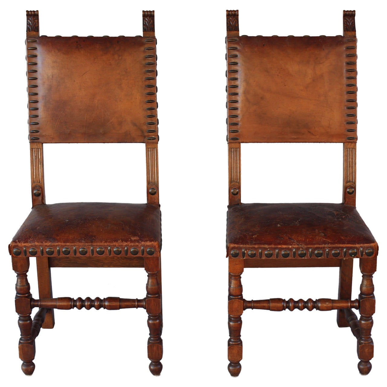 antique 1920s pair of leather side chairs at 1stdibs. Black Bedroom Furniture Sets. Home Design Ideas