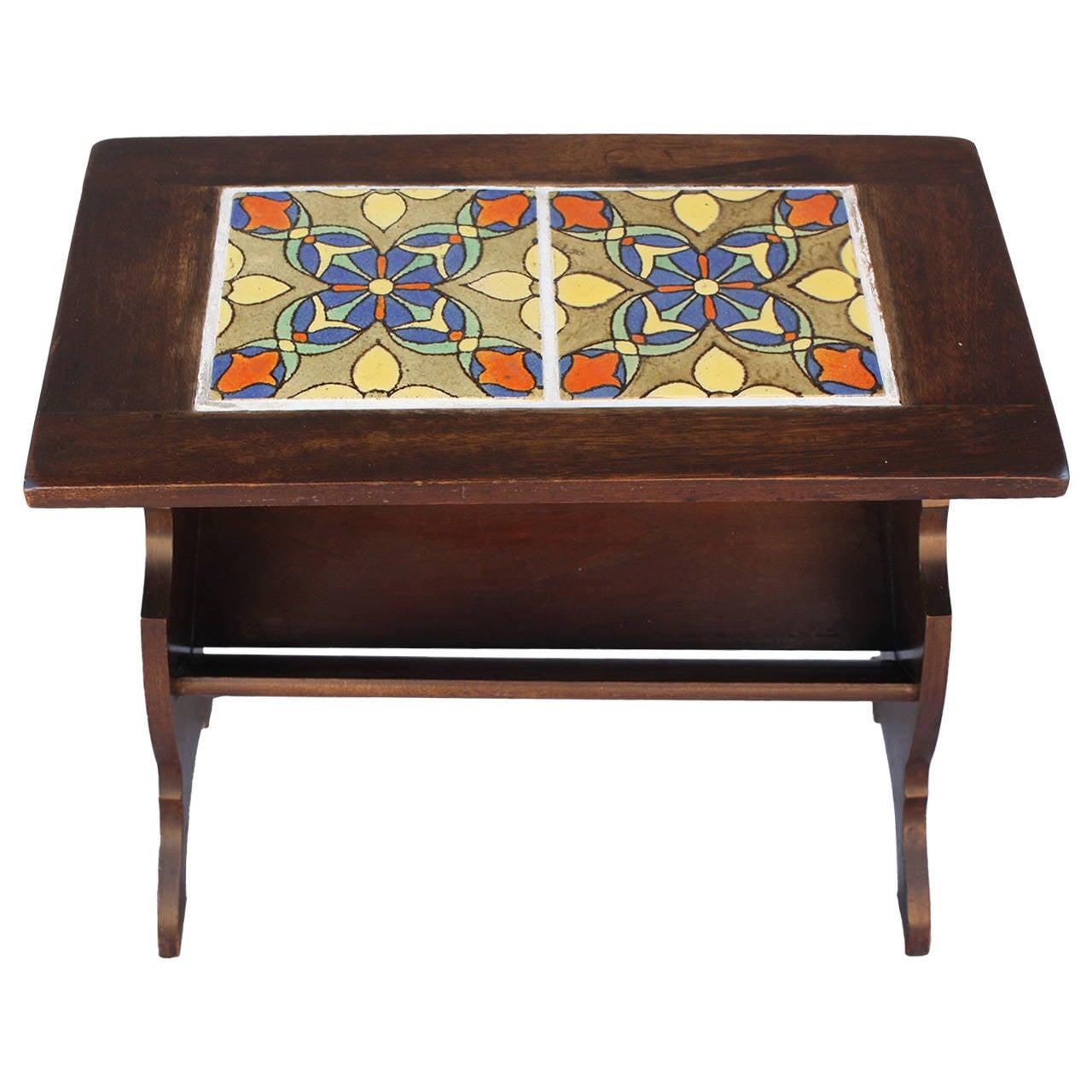 Good Antique California Tile Malibu Magazine Stand Or Side Table 1
