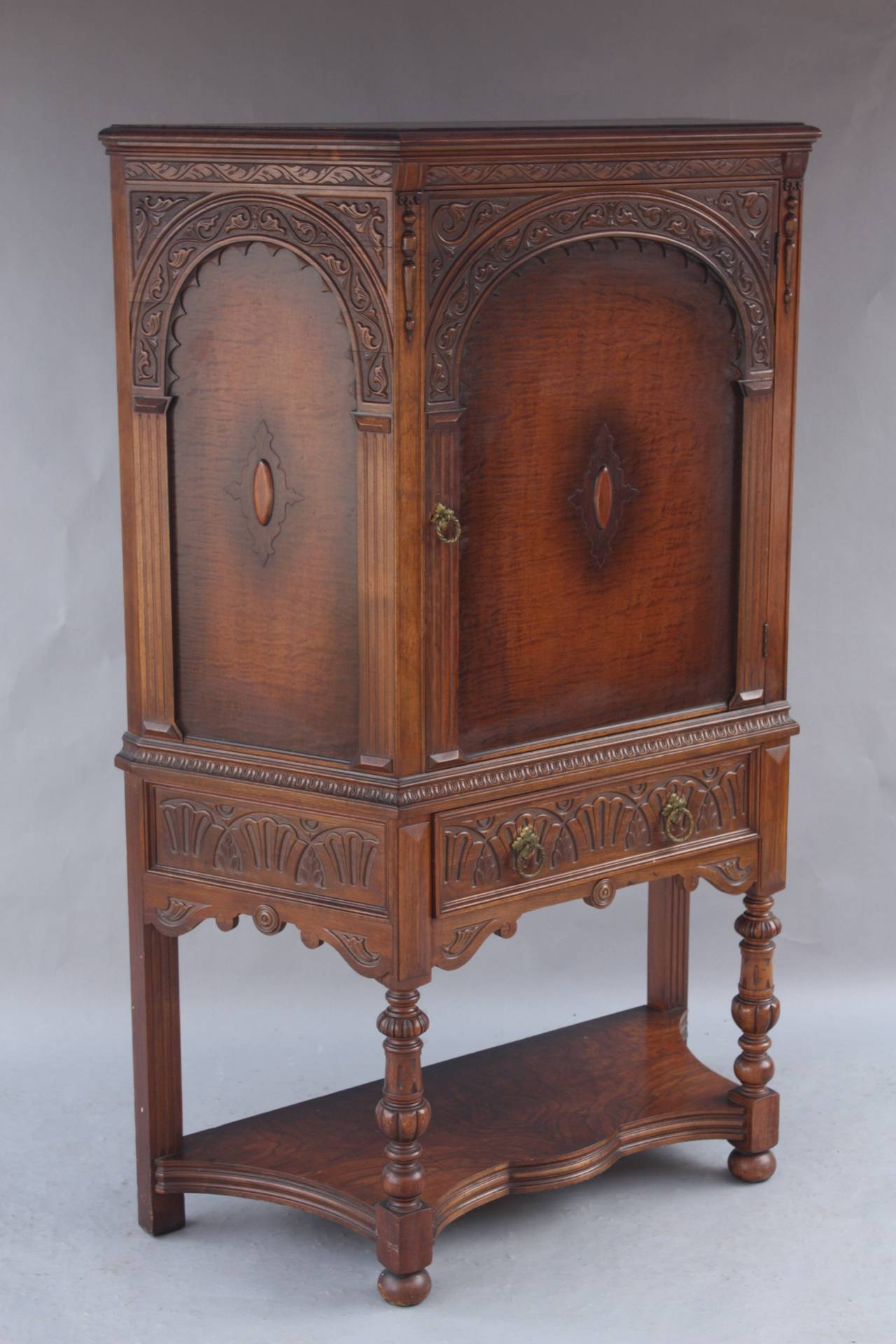 Spanish Revival Walnut Cabinet For Sale at 1stdibs