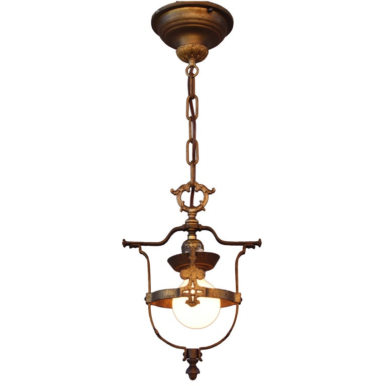 Antique 1920s Single Light Pendant For Sale