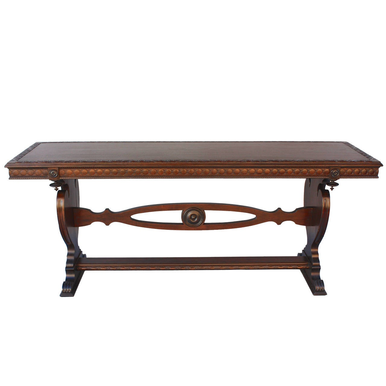 Antique carved walnut console or sofa table at stdibs