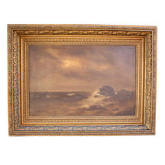 19th Century Oil Painting of Coast by P.F. Lund