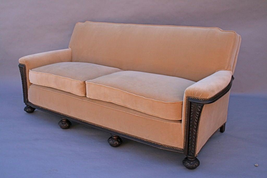 Carved Dark Walnut Sofa With Velvet Upholstery 2