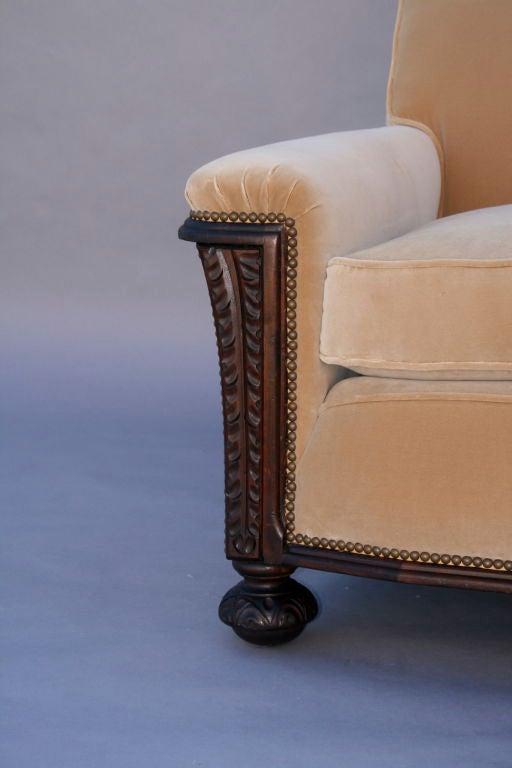 Carved Dark Walnut Sofa With Velvet Upholstery 3