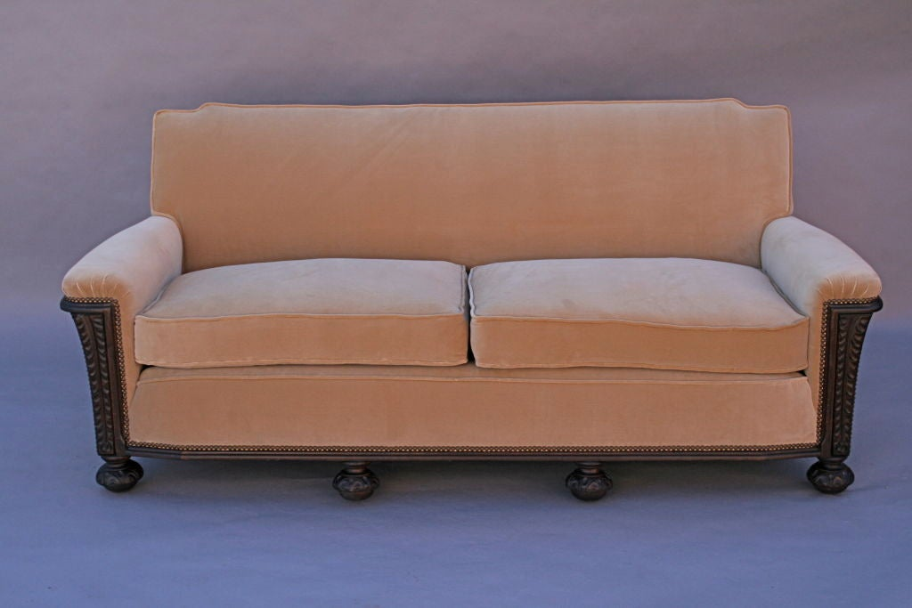 Carved Dark Walnut Sofa With Velvet Upholstery 4