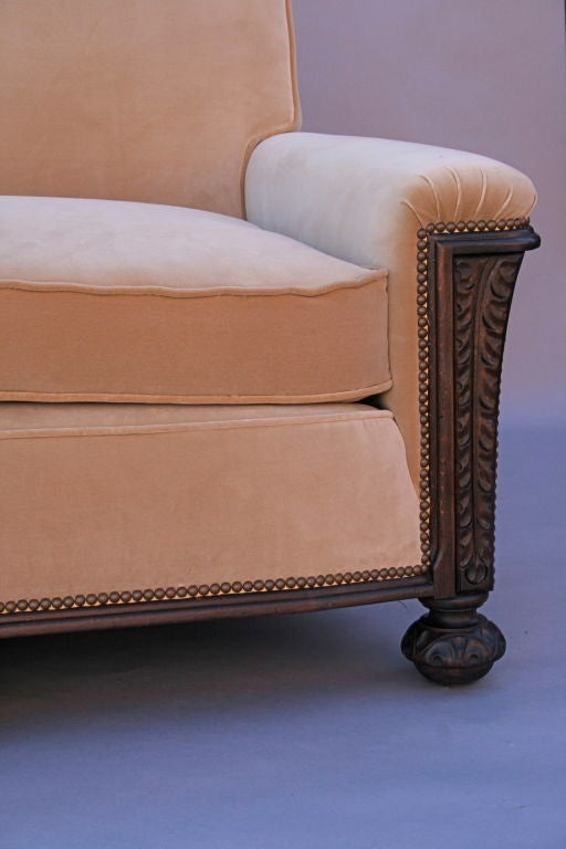 Carved Dark Walnut Sofa With Velvet Upholstery 5