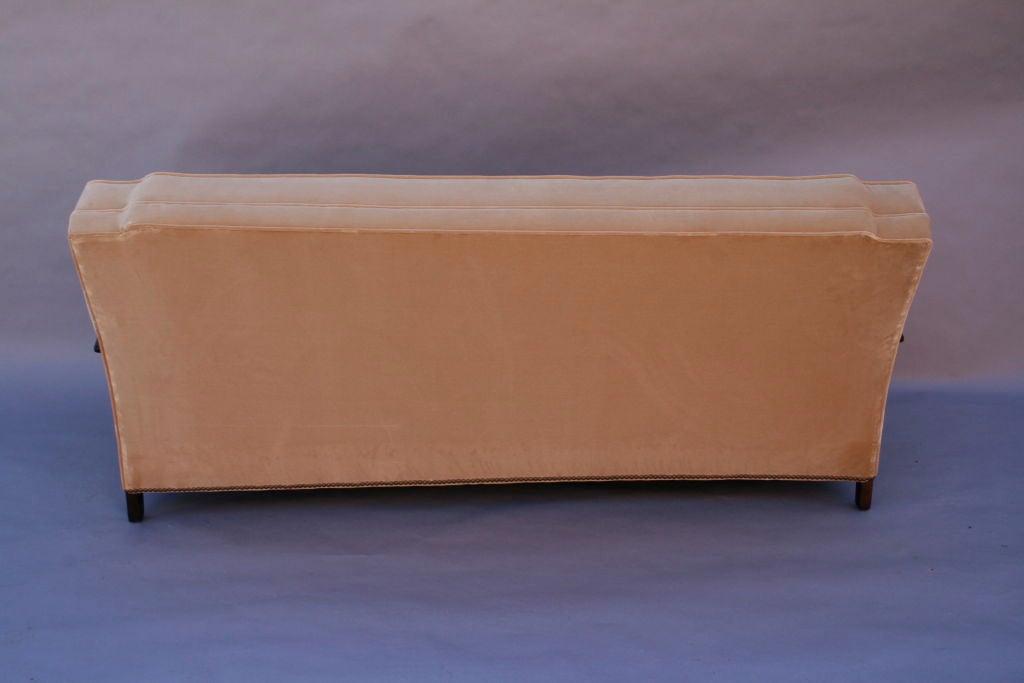 Carved Dark Walnut Sofa With Velvet Upholstery 6