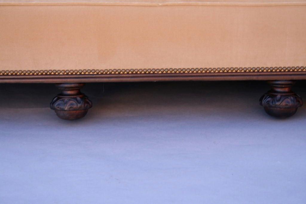Carved Dark Walnut Sofa With Velvet Upholstery 7