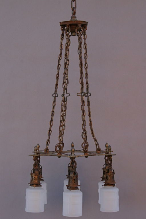Dramatic Iron and Brass Chandelier with Six