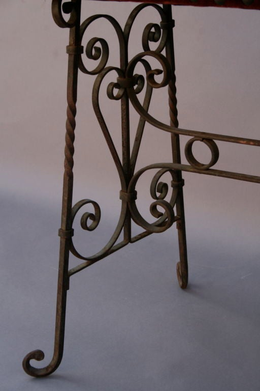 Wrought Iron And Mohair Bench At 1stdibs
