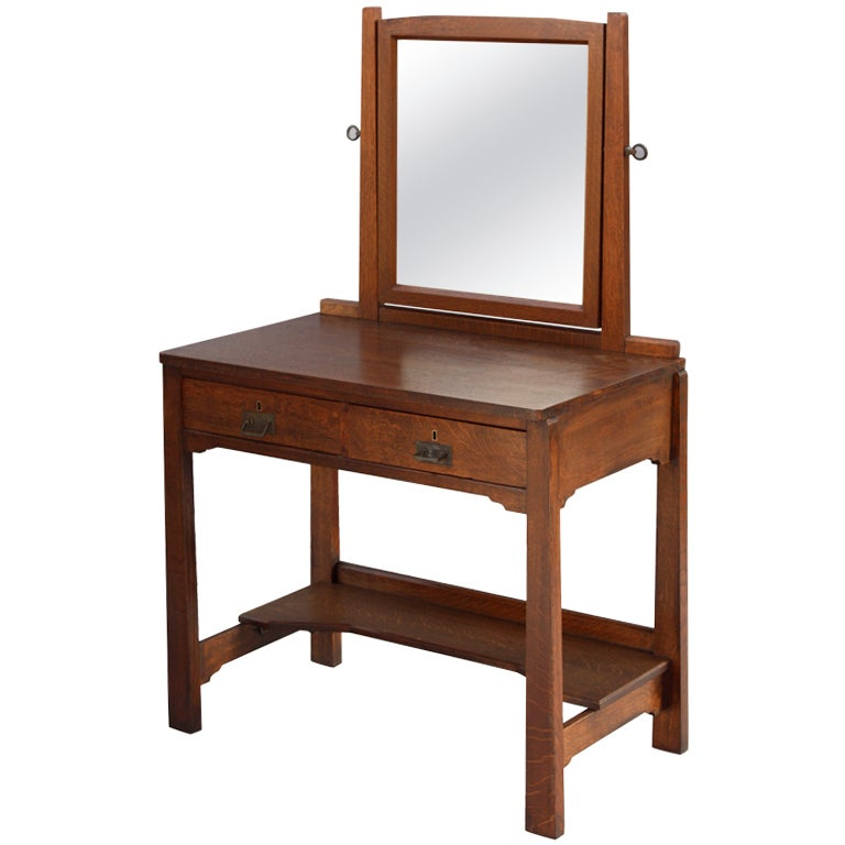 Arts And Crafts Vanity Dressing Table With Mirror At 1stdibs