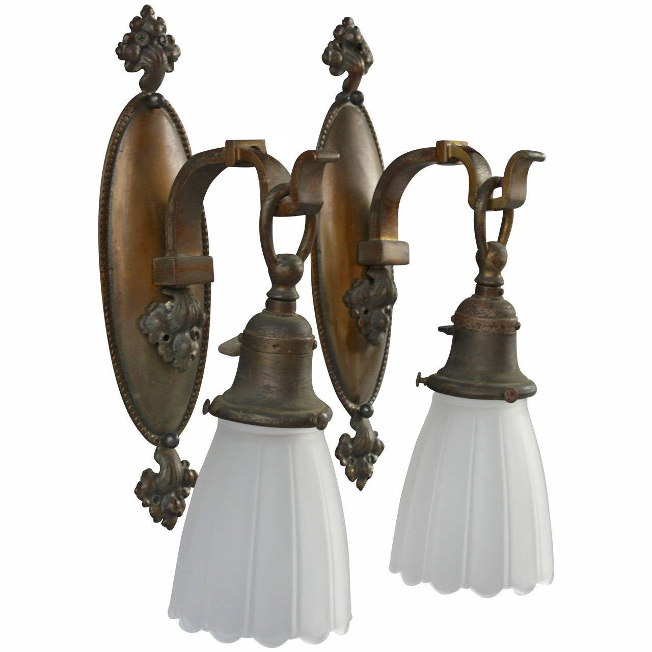 Wall Sconces Glass Shades : Pair of Brass Sconces with Glass Shades at 1stdibs