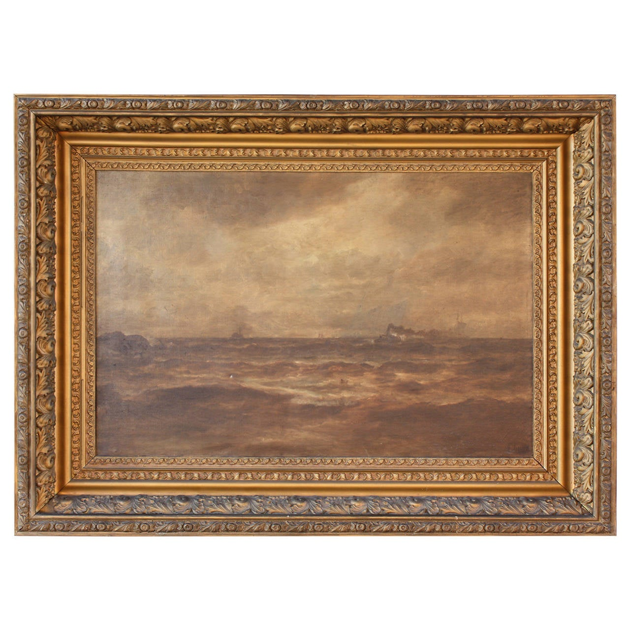 19th Century Seascape with Steam Ship by P F Lund