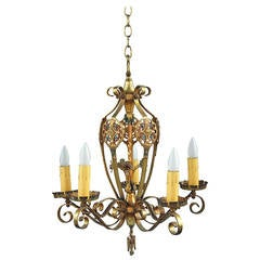 Vibrant 1920s Chandelier with Original Polychrome