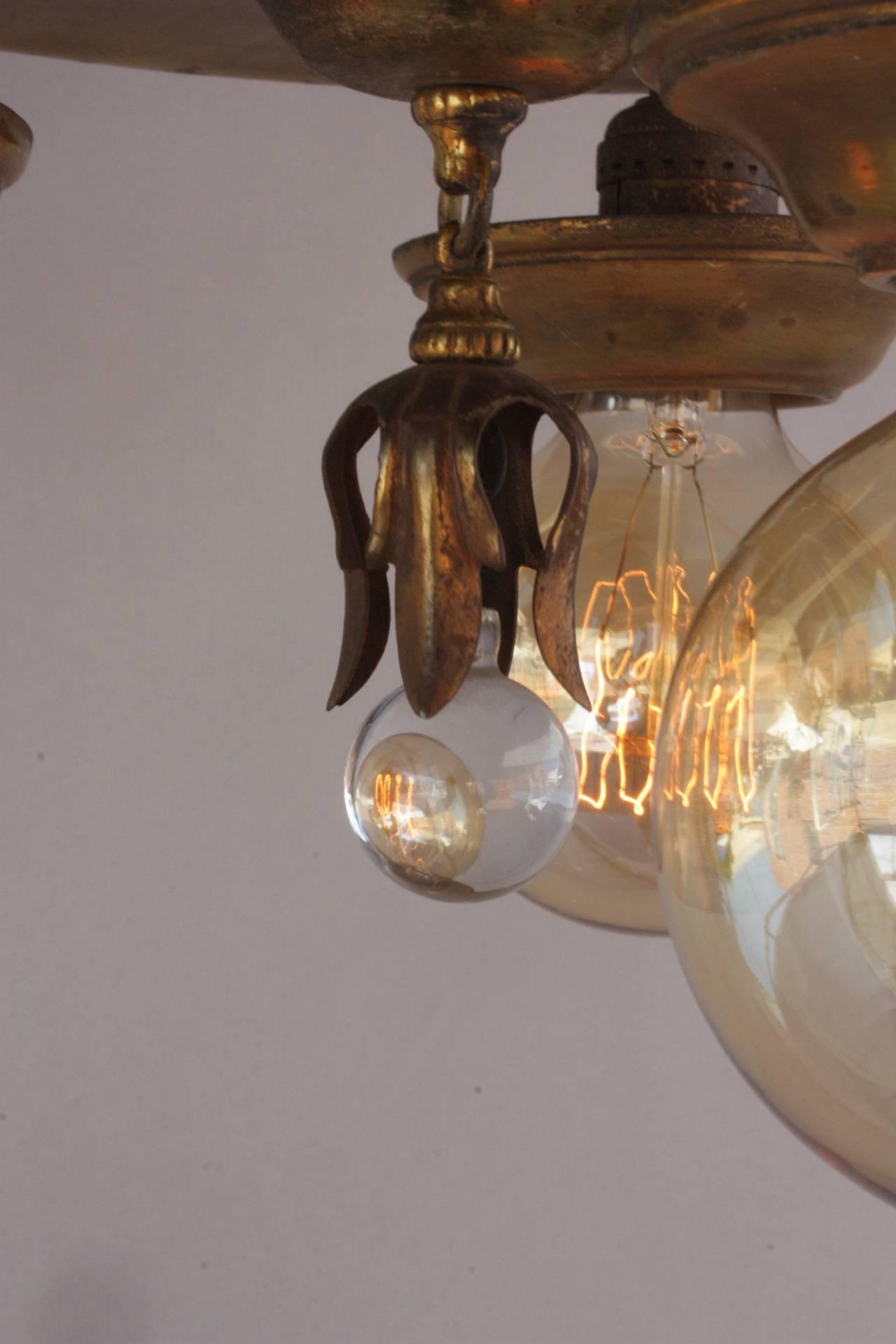 3 Light 1920 S Flush Mount Ceiling Light Fixture At 1stdibs