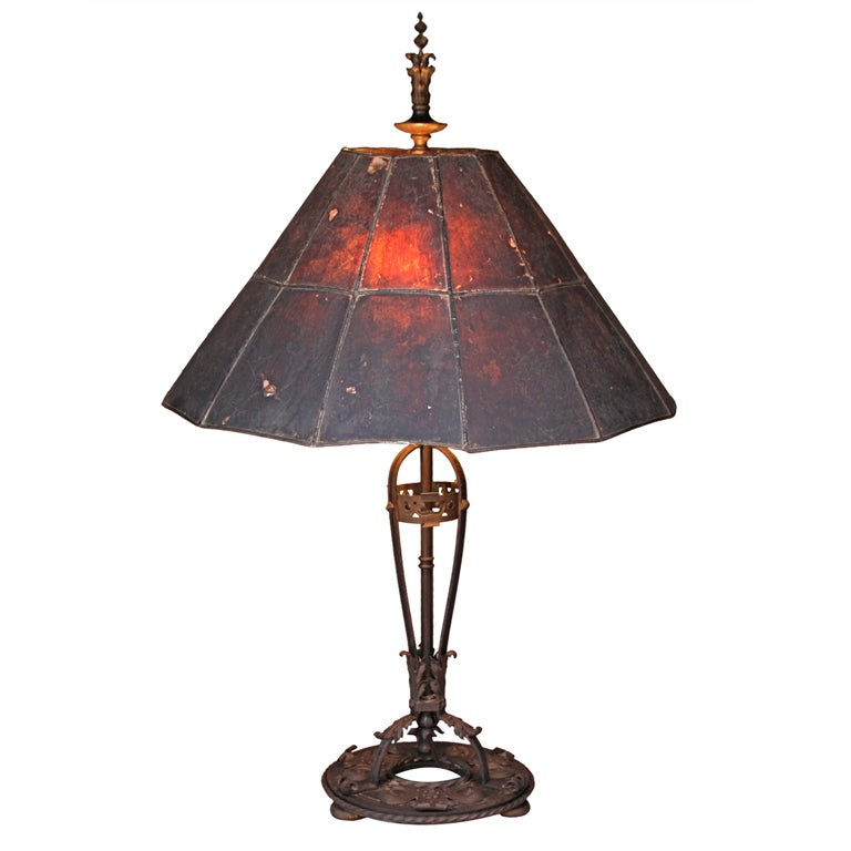 exceptional wrought iron lamp with mica shade at 1stdibs. Black Bedroom Furniture Sets. Home Design Ideas