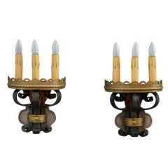 Imposing Pair Of 1920's Iron And Brass Sconces