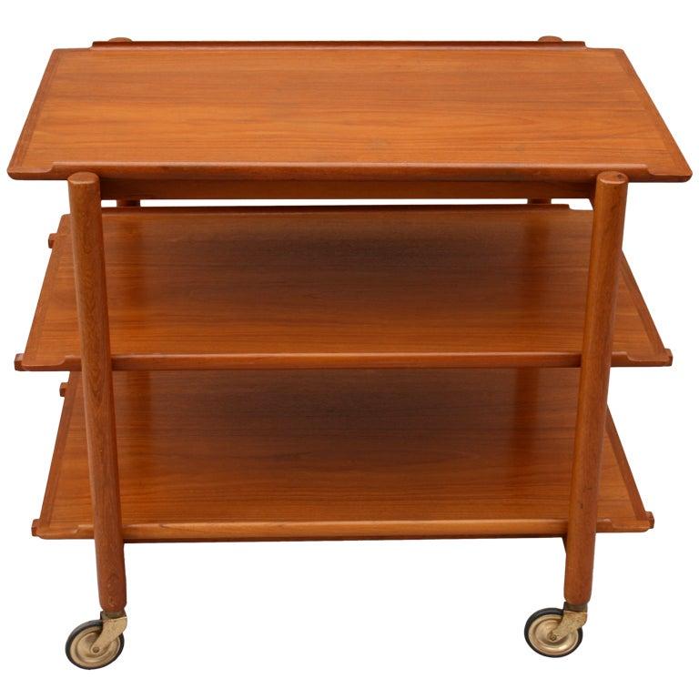 mid century danish serving cart by poul hundevad for vamdrup at 1stdibs. Black Bedroom Furniture Sets. Home Design Ideas