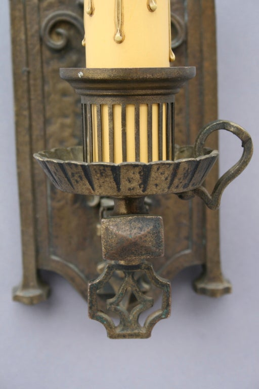 Pair Of Cast Bronze Sconces at 1stdibs
