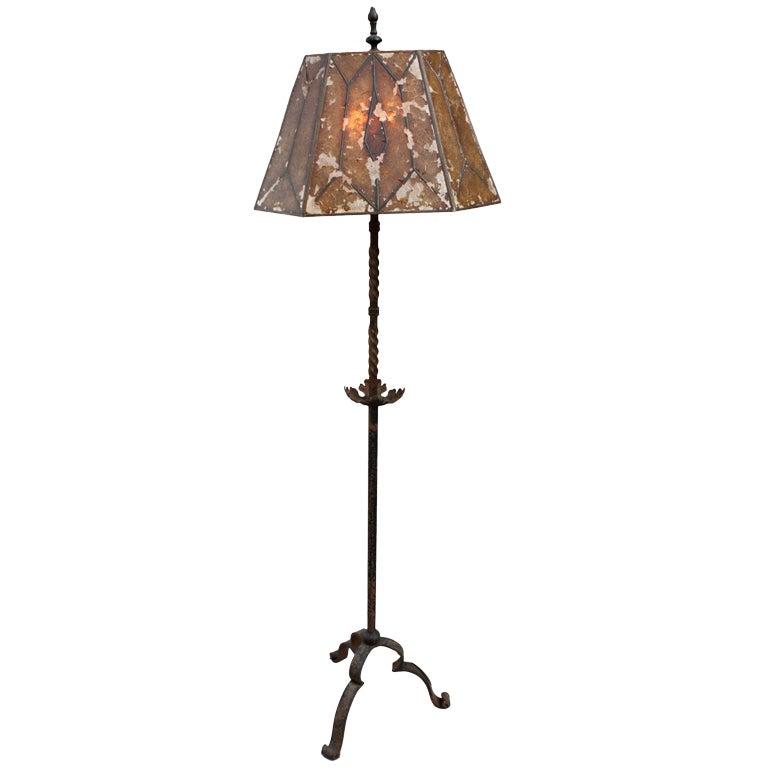 wrought iron floor lamp w original shade at 1stdibs. Black Bedroom Furniture Sets. Home Design Ideas