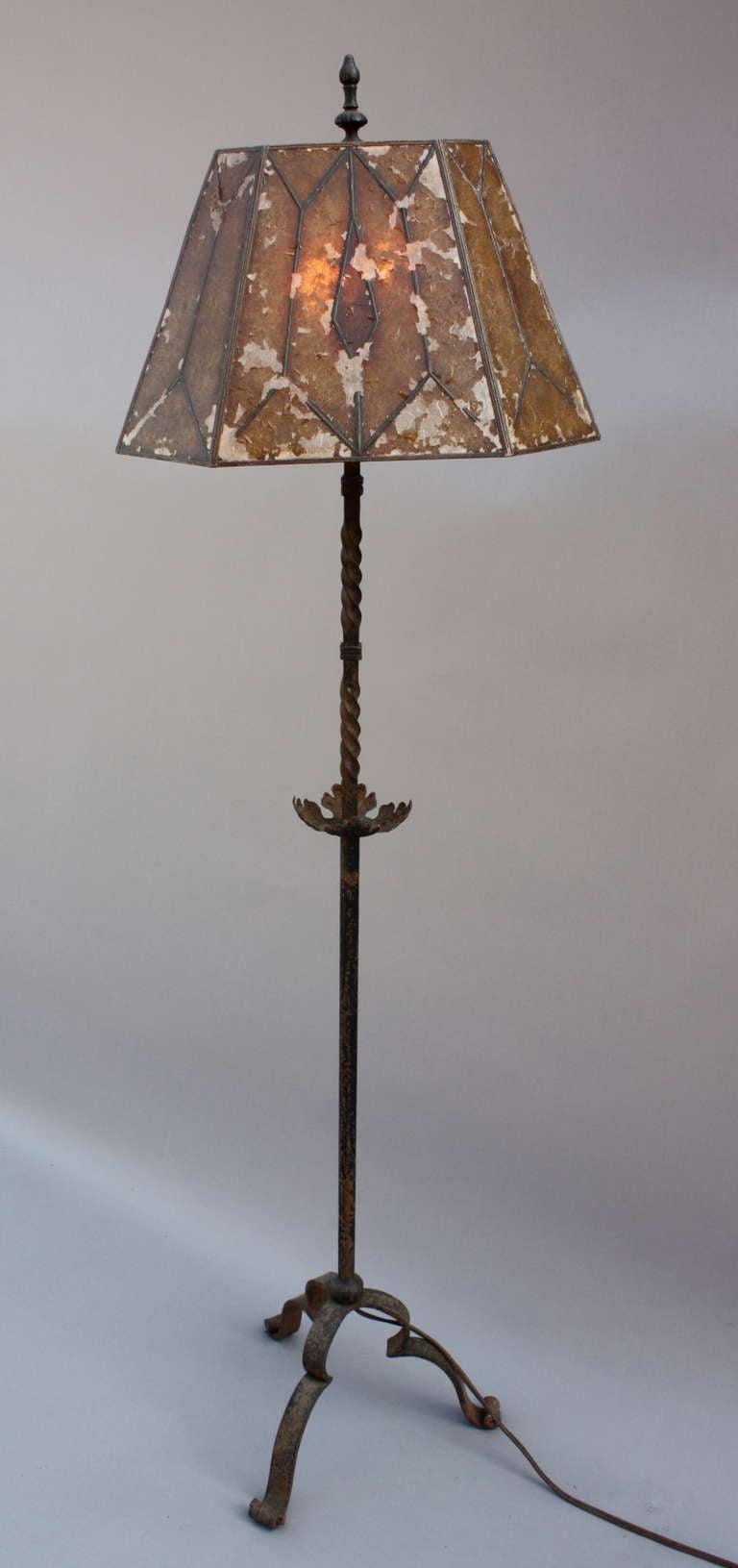 Wrought Iron Wall Lamp Shades : Wrought Iron Floor Lamp w/ Original Shade at 1stdibs