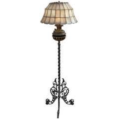 Wrought Iron Lamp With Capiz Lampshade