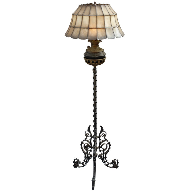 Wrought Iron Lamp With Capiz Lampshade For Sale