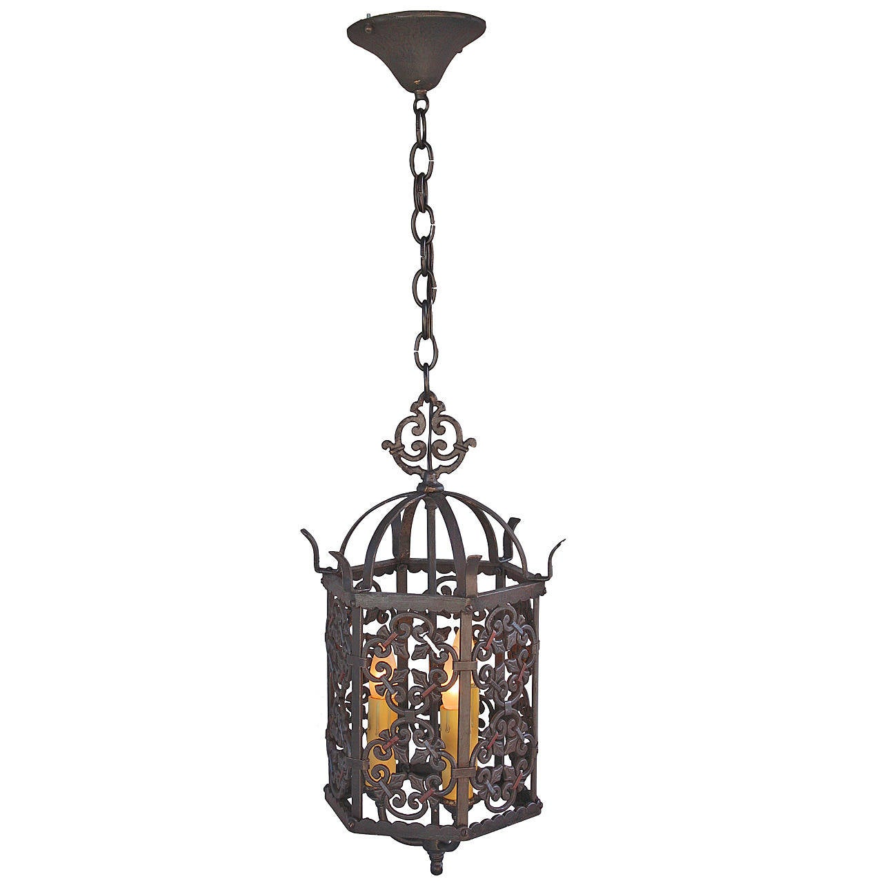 Handsome three light spanish revival pendant at 1stdibs for Spanish revival lighting fixtures
