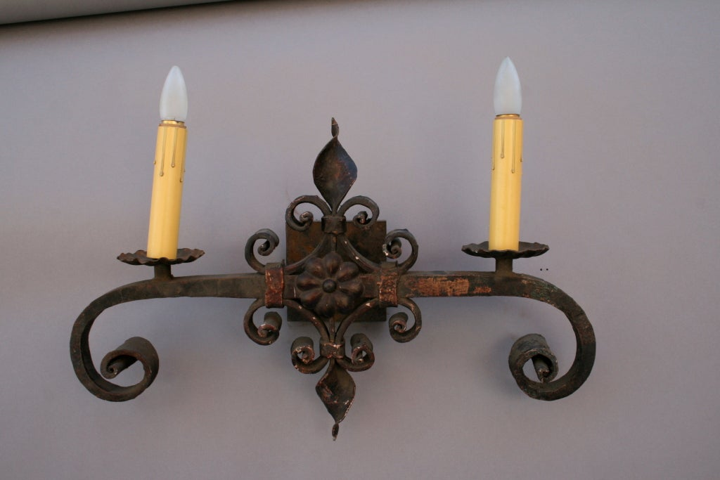 Single Large Wrought Iron Sconce at 1stdibs