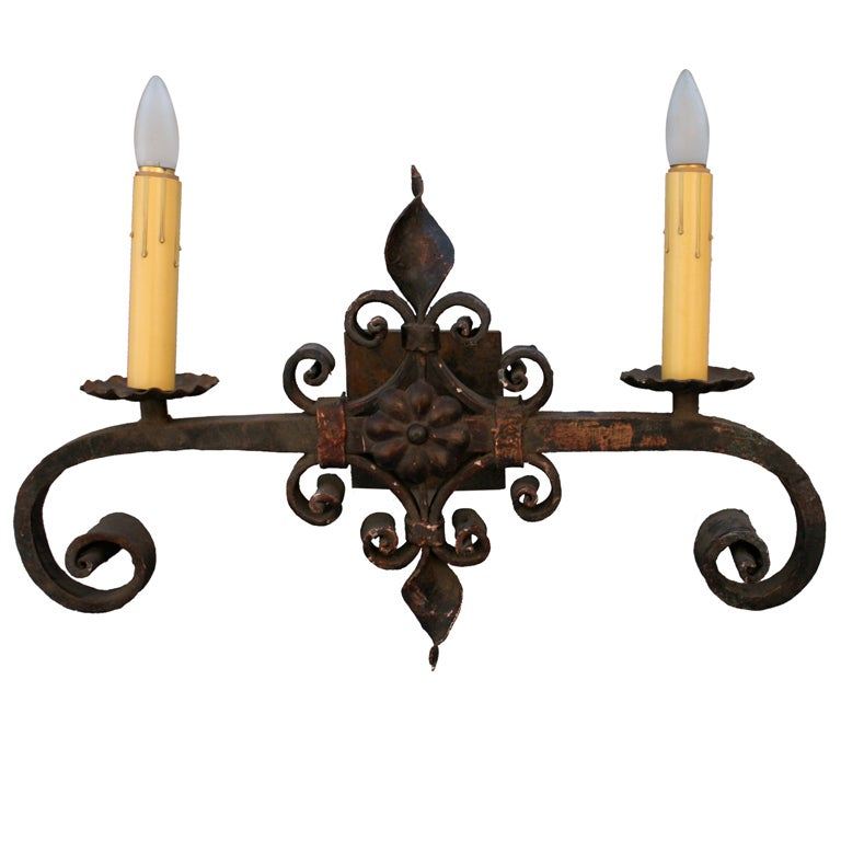 Large Iron Wall Sconces : Single Large Wrought Iron Sconce at 1stdibs