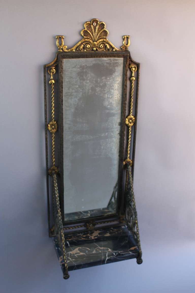 1920s spanish revival small wall mirror with shelf for for Mirror with shelf
