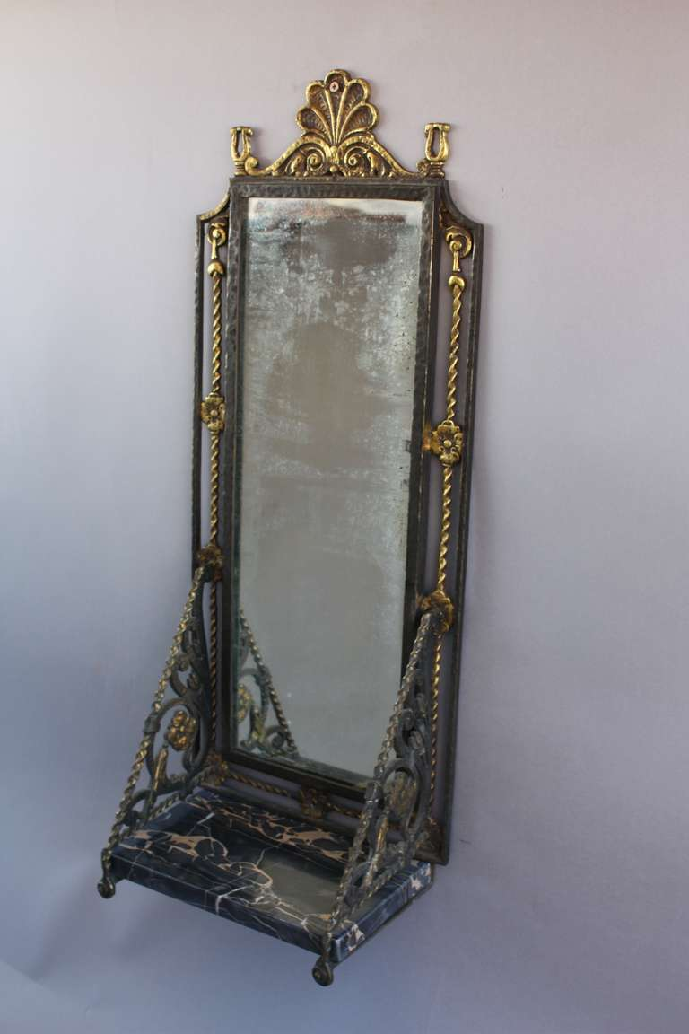 1920s Spanish Revival Small Wall Mirror With Shelf At 1stdibs