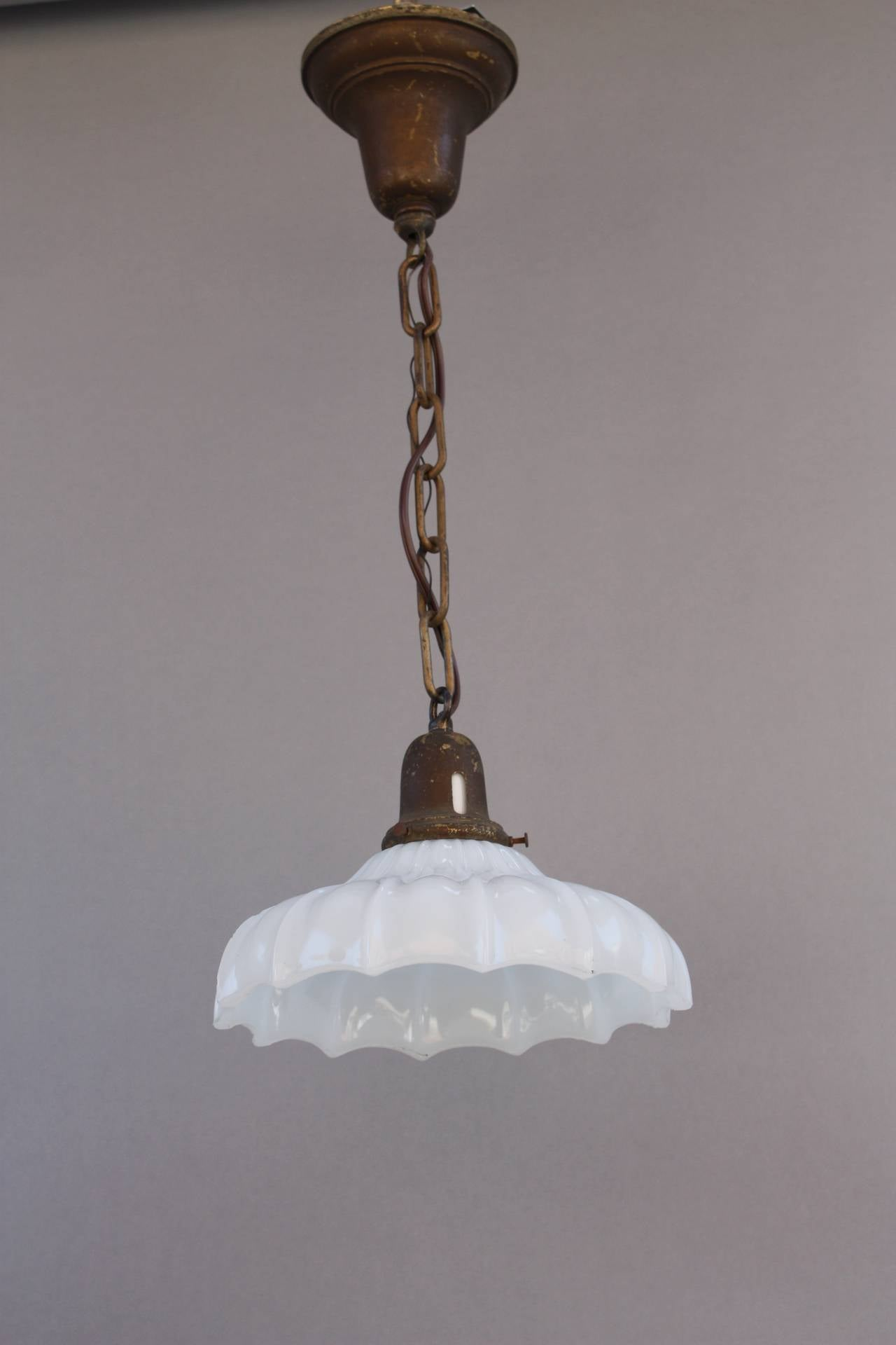 Original 1920s Single Pendant With Glass Shade For Sale At