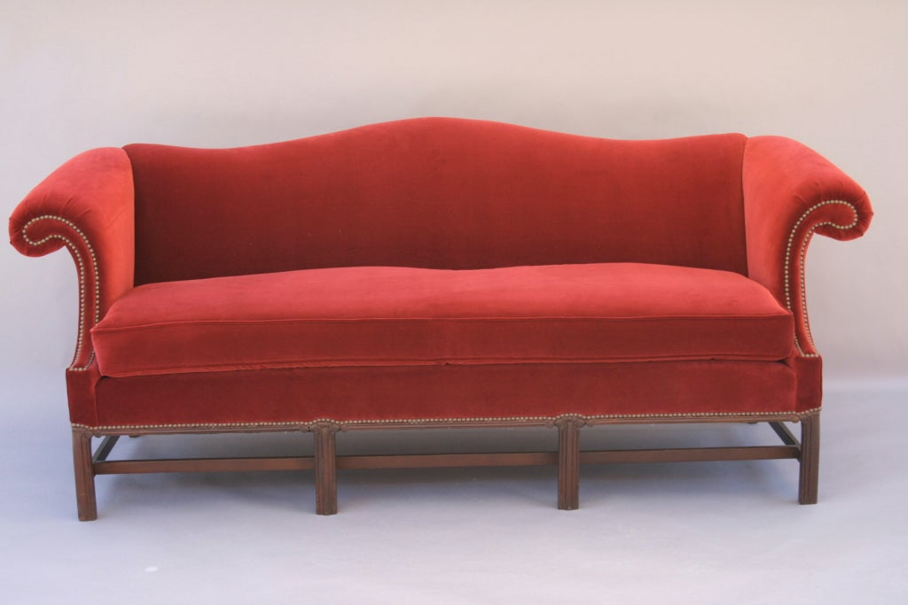 Crimson Velvet Camel Back Sofa At 1stdibs