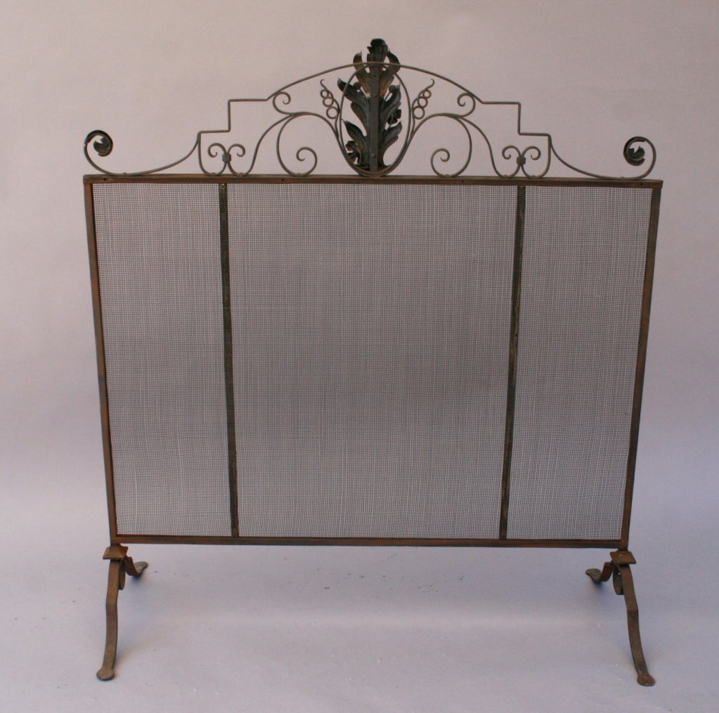 Elegant 1920 39 S Wrought Iron Fire Screen At 1stdibs