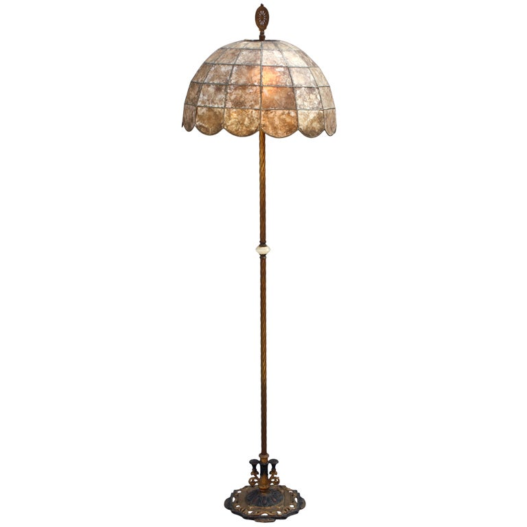 Antique 1920's Floor Lamp With Original Mica Shade