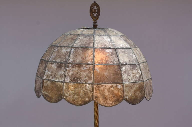 Spanish Colonial Antique 1920's Floor Lamp With Original Mica Shade For Sale