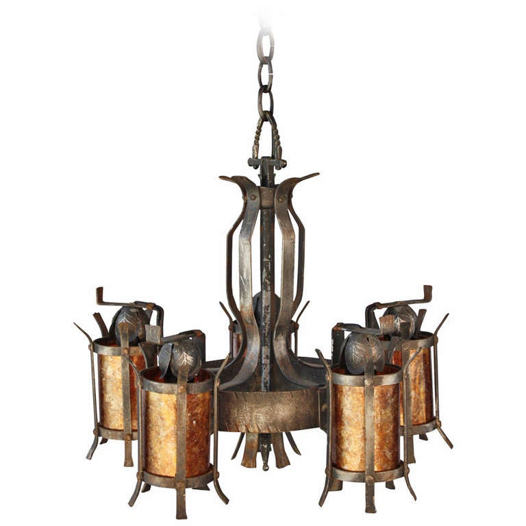 1920s spanish revival chandelier with mica light at 1stdibs for Spanish revival lighting