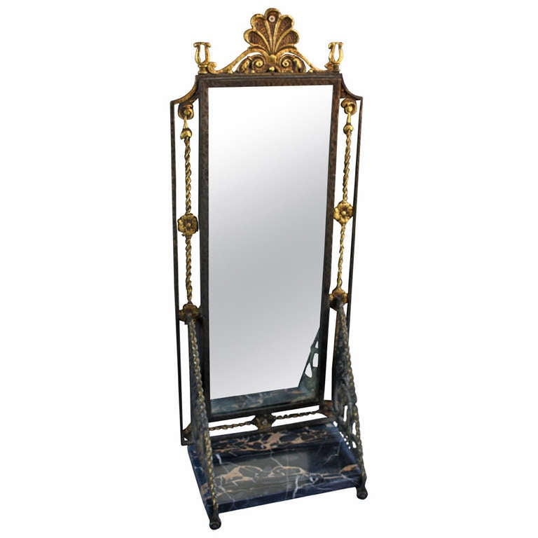 1920s spanish revival small wall mirror with shelf for