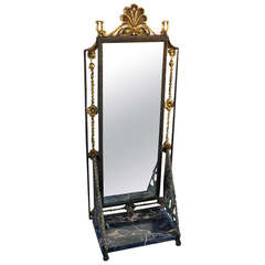 1920s Spanish Revival Small Wall Mirror with Shelf