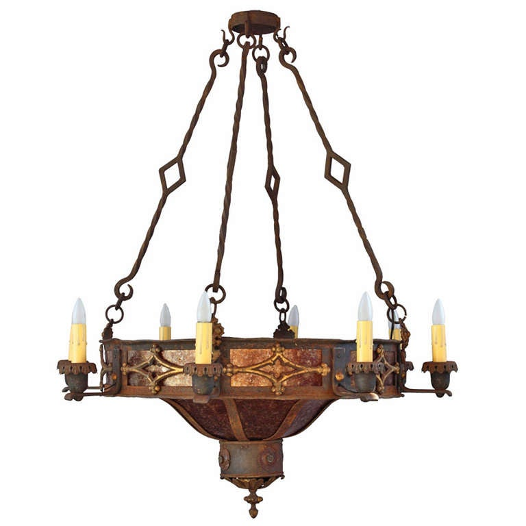 1920s Striking Large Scale Spanish Revival 7 Light