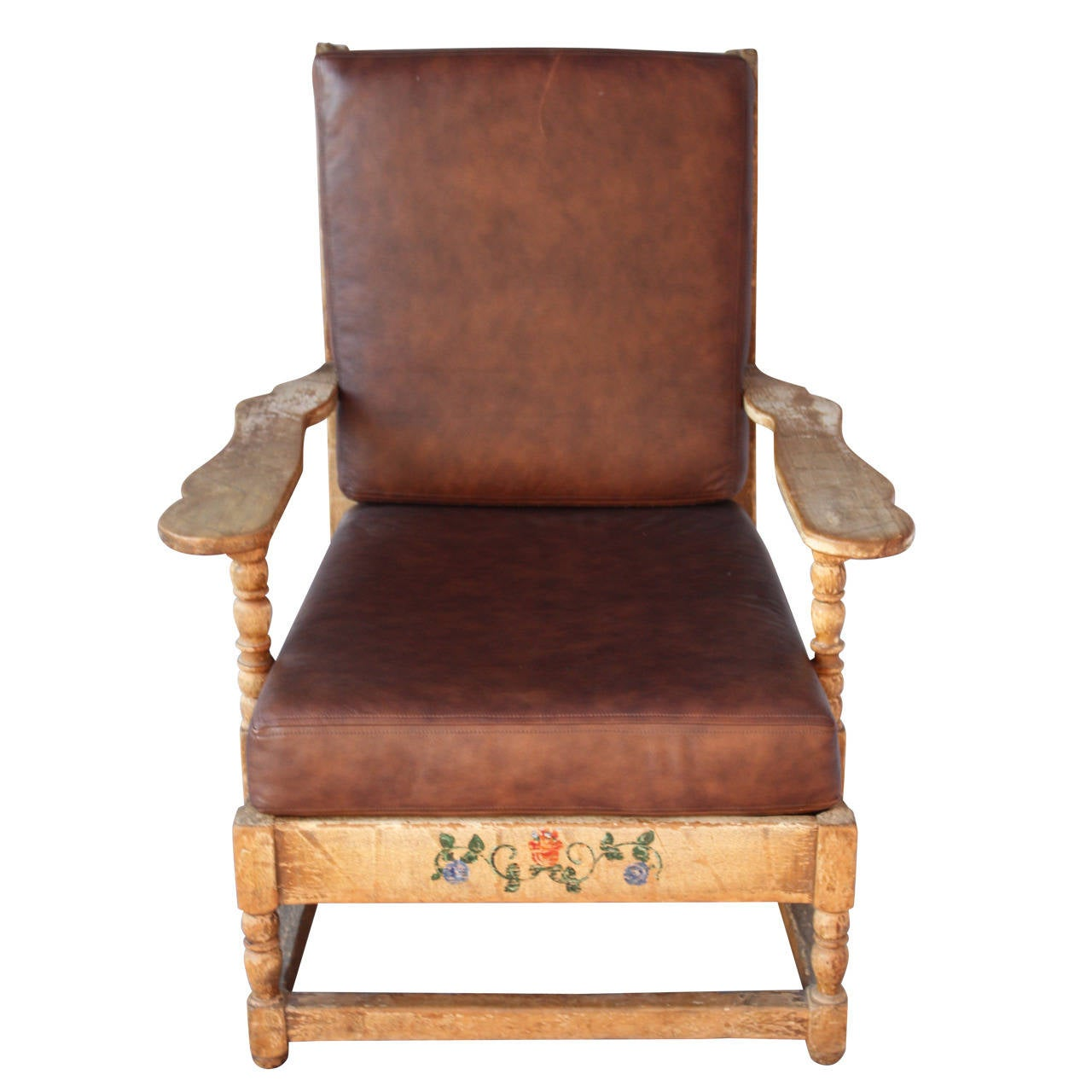 Large monterey armchair with leather seat for sale at 1stdibs for Oversized armchairs for sale