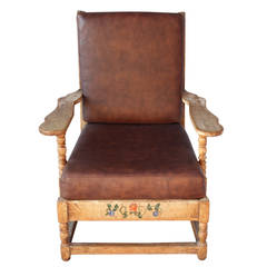 Large Monterey Armchair with Leather Seat